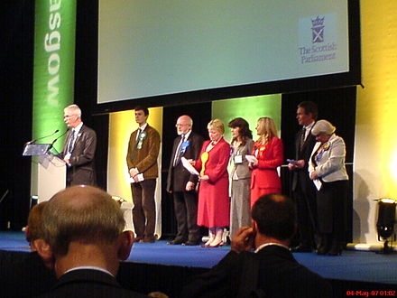 The result for the Kelvin constituency being declared at the 2007 Scottish Parliament election. Ordinary general elections for the Scottish Parliament are held on the first Thursday in May every four years. Declaration Glasgow Kelvin.JPG
