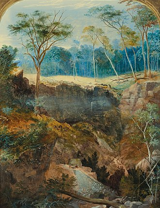 Bendigo - Painting of the Deep Gully Mine by George Rowe, 1857