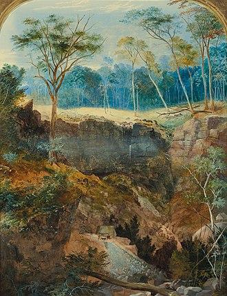 Bendigo - Painting of the Deep Gully Mine by George Rowe, 1857