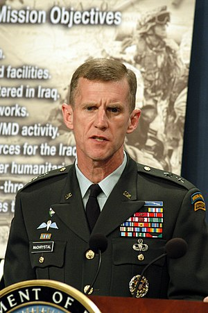 Stanley A. McChrystal - McChrystal at the Pentagon in April 2003, giving a briefing regarding the Iraq War.