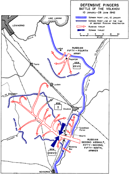 After 1941-42, armoured formations were increasingly used as a mobile reserve against Allied breakthroughs. The blue arrows depict armoured counter-attacks. Defensive pincers in battle of Volkhov.png
