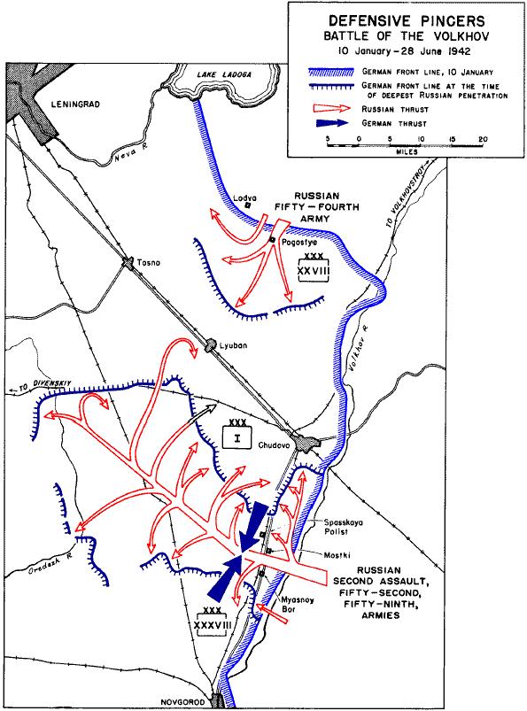 Defensive pincers in battle of Volkhov