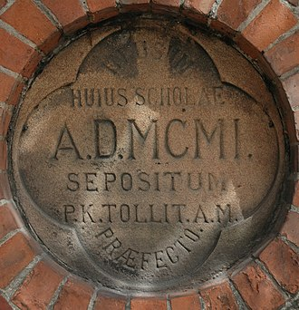 Derby School - Date Stone on the wall in front of 'B'-Block