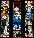 Derry St. Eugene's Cathedral North Aisle Window 4 St Dominic Receives the Rosary from the Virgin Mary Detail 2013 09 17.jpg
