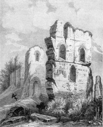 Church of the Tithes - The ruined Church of the Tithes in the 1650s, drawn by Abraham van Westerveld.