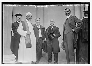 A. V. Williams Jackson - Left to right: Unknown, Maneckji Nusserwanji Dhalla, A. V. W. Jackson, Henry Clews, and Djelal Munif Bey at Columbia University in 1914