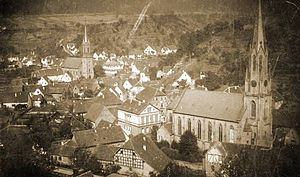 Weidenthal - View of the two churches in 1897; Evangelical on the left and Catholic on the right