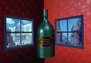 "Digital Effects (studio) -  A three-dimensional computer graphics image by Digital Effects Inc., New York, circa 1982. This image is one of the company's first to combine three dimensional objects (the bottle) along with texture mapping (the surface of the bottle and the ""wallpaper"" on the walls) and image mapping (the label on the bottle and the images inside the windows. The image was created using Digital Effects' Vision software, written in APL and Fortran."