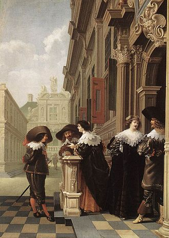 Dirck van Delen - Conversation outside a Castle, 1636