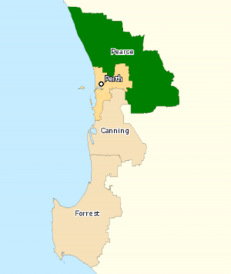 Division of Pearce - Division of Pearce (green) in Western Australia, as of the 2016 federal election.