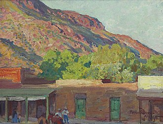 Maynard Dixon - Adobe Town, Tempe, Arizona, 1915. This painting reflects his early, Impressionist style.