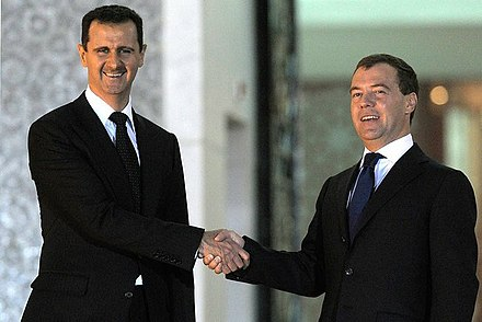 Assad with Russian President Dmitry Medvedev in 2010 Dmitry Medvedev in Syria 10 May 2010-5.jpeg
