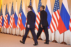 Dmitry Medvedev with Barack Obama 6 July 2009-11.jpg