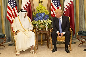 2017 Qatar diplomatic crisis - United States President Donald Trump with the Emir of Qatar Tamim bin Hamad Al Thani, May 2017