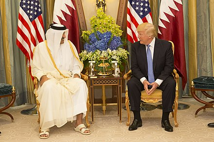 Emir Tamim bin Hamad Al Thani with U.S. President Donald Trump in May 2017. Donald Trump meets with the Emir of Qatar (Sheikh Tamim bin Hamad Al Thani), May 2017.jpg
