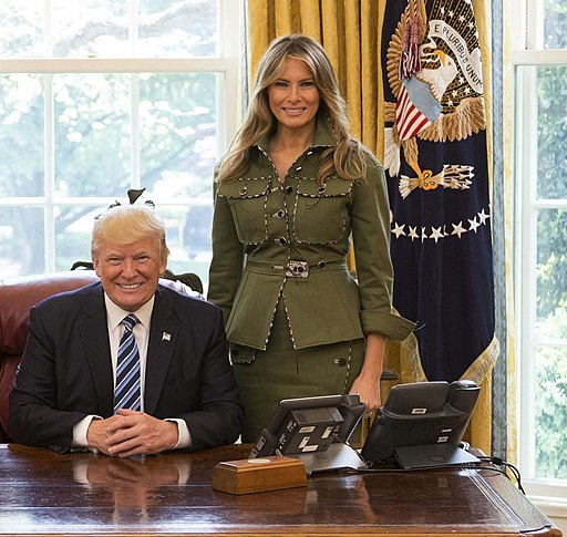 Donald and Melania Trump in the Oval Office 2017