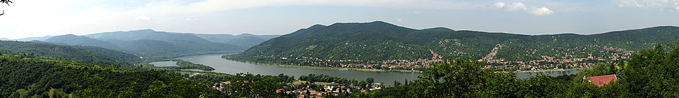 The Danube Bend is a curve of the Danube in Hungary, near the city of Visegrád. The Transdanubian Mountains lie on the right bank (left side of the picture), while the North Hungarian Mountains on the left bank (right side of the picture).