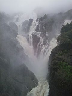 Dudhsagar Falls tiered waterfall located on the Mandovi River in the Indian state of Goa