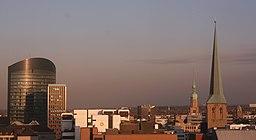 View over the centre of Dortmund.Left to right: RWE Tower, Sparkassen Tower, WestLB Gebäude, Reinoldikirche and Petrikirche.