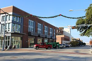 Garland, Texas - State St and 5th Street in Downtown during the holidays.