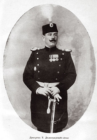 Dragutin Dimitrijevic, leader of the Black Hand and prominent member of the Serbian General Staff. Dragutin Dimitrijevic-Apis, ca. 1900.jpg