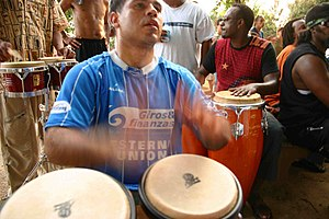 A drum circle taking place at Meridian Hill Pa...
