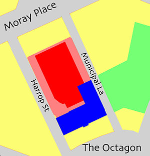 Dunedin Town Hall - Plan showing the first (blue) and second (red) stages of construction. The concert hall is marked in deeper red. The area shown in green is the Dunedin Civic Centre.