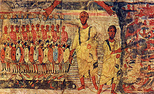 Crossing the Red Sea - Crossing the Red Sea, from Dura Europos synagogue, 3rd century