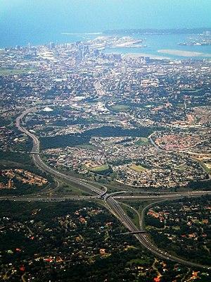 N3 road (South Africa) - N3 freeway approaching Durban, N2/N3 E.B. Cloete Interchange in the foreground