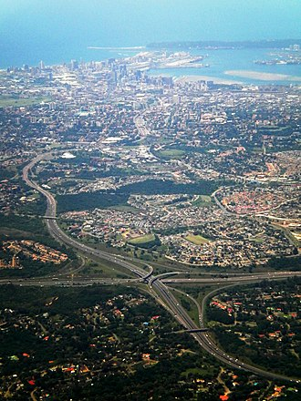 N3 road (South Africa) - N3 freeway approaching Durban, N2/N3 E.B. Cloete Interchange in the foreground