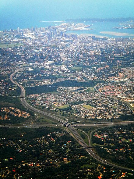 N3 freeway on its approach to Durban's CBD, with N2-N3 stack interchange in the foreground DurbanN3-aerial.jpg