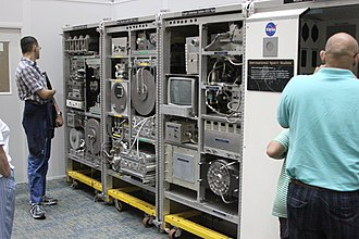 ISS ECLSS - The three ECLSS racks on display at the Marshall Space Flight Center ECLSS Test Facility in 2012. From left to right, the Water Recovery System (Rack 1), WRS Rack 2 and Oxygen Generating System.