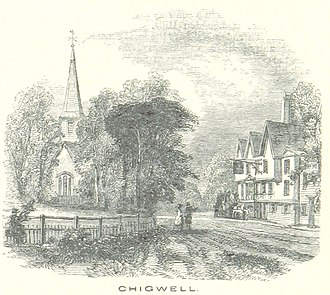 Chigwell - Ye Olde King's Head and St Mary's Church, depicted in 1851
