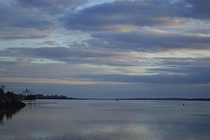 East Bay Bike Path - View of the Narragansett Bay at sunset from the bike path, near East Providence