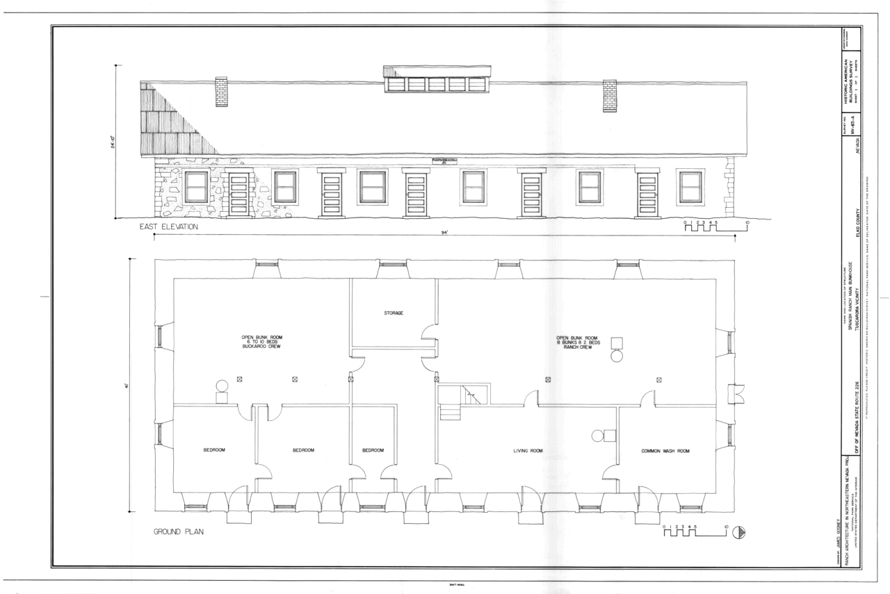 File East Elevation Plan Spanish Ranch Main Bunkhouse