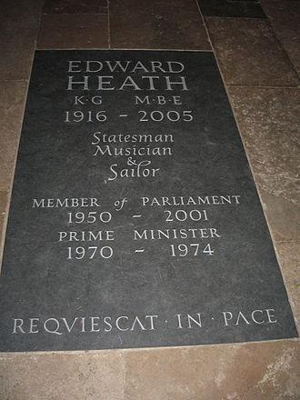 Edward Heath - Heath's monument in Salisbury Cathedral