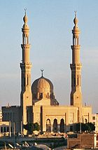 Mosque in Aswan, Egypt, with minarets.