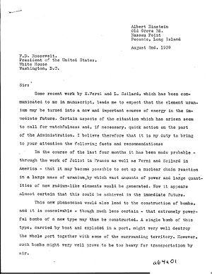 Letter (message) - Image: Einstein Szilard p 1