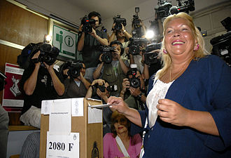 Elisa Carrió - Elisa Carrió votes in the 2007 elections. She lost, but made history as the first female runner-up to another woman in a presidential race.