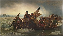 Famous 1851 painting by Emanuel Leutze, depicting Washington, standing in boat with his troops, crossing the icy Delaware River, with soldiers pushing away chunks of ice