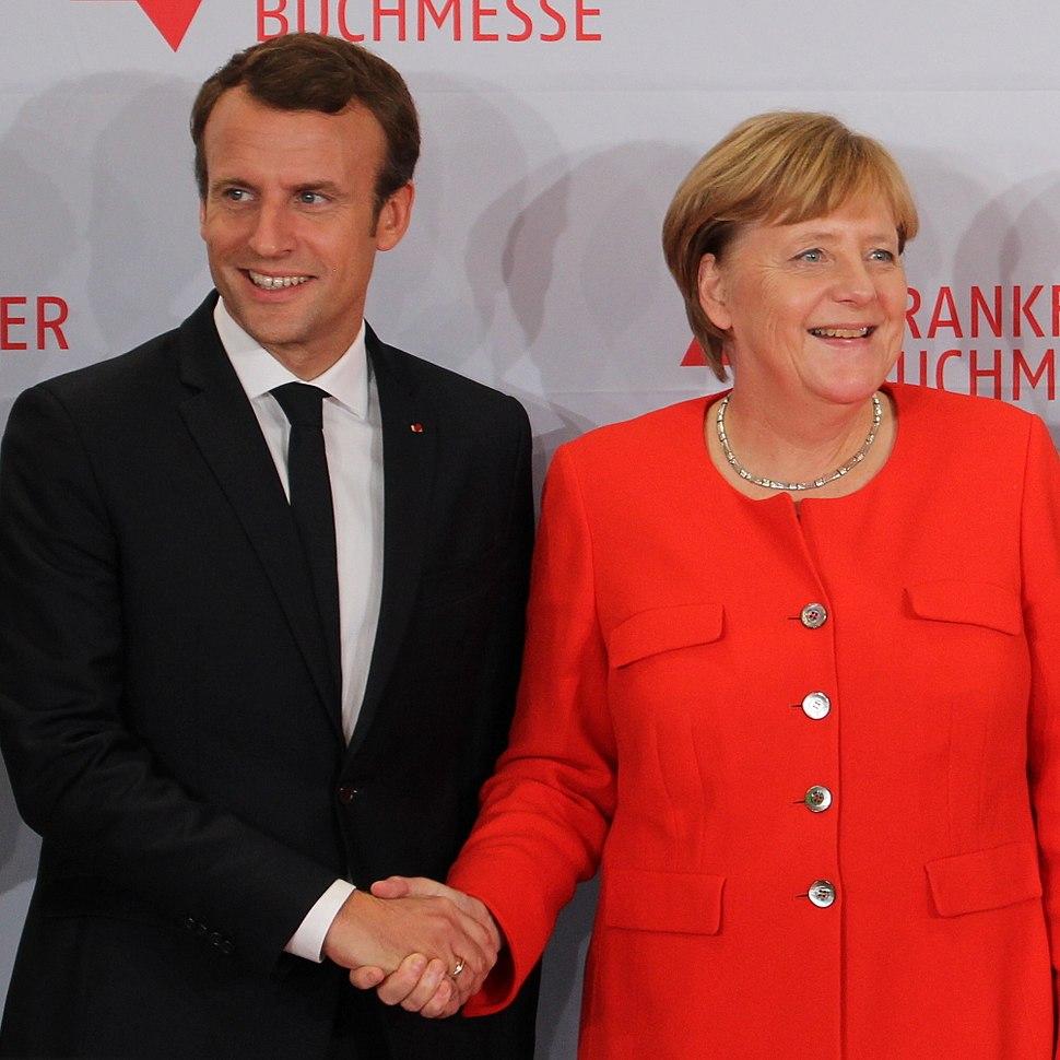 Emmanuel Macron and Angela Merkel (Frankfurter Buchmesse 2017)
