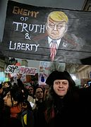 Enemy of truth and liberty - anti-Trump protest in central London. (32489454392).jpg