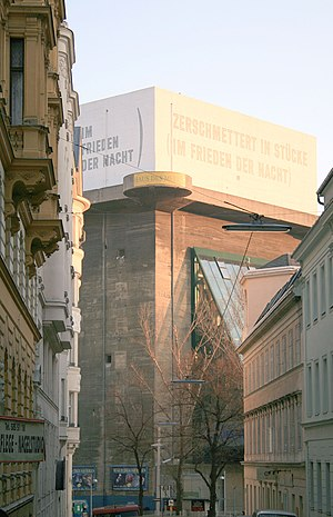 Lawrence Weiner - Flakturm at Esterházypark in Vienna: Zerschmettert in Stücke (im Frieden der Nacht) / Smashed to pieces (in the still of the night) (1991)