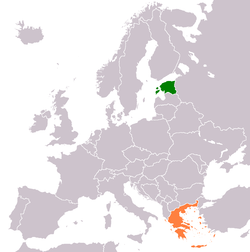 Map indicating locations of Estonia and Greece