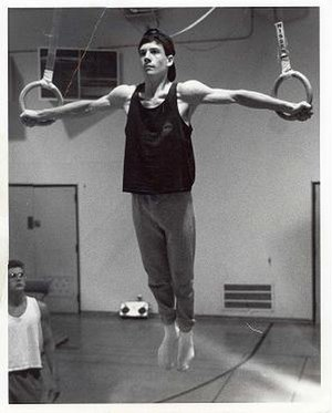 Rings (gymnastics) - A gymnast performing an Iron Cross.