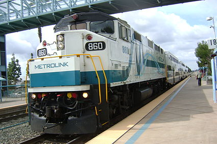 A Metrolink train pulls into the Irvine station.