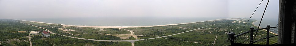Panorama of Fire Island from the top of the Fire Island Lighthouse (distorted view)