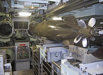 Torpedo tube - Torpedo tubes of the French SNLE Redoutable: French submarines use pistons to push the torpedo outside the tube, instead of blowing it out with compressed air.