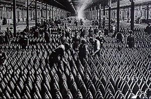 M1894 210mm Belgian mortar - Stocks of grenades in a Belgian ammunition factory.