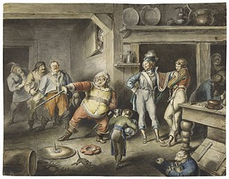 Henry IV, Part 1 - An 1829 watercolor by Johann Heinrich Ramberg of Act II, Scene iv: Falstaff enacts the part of the king.